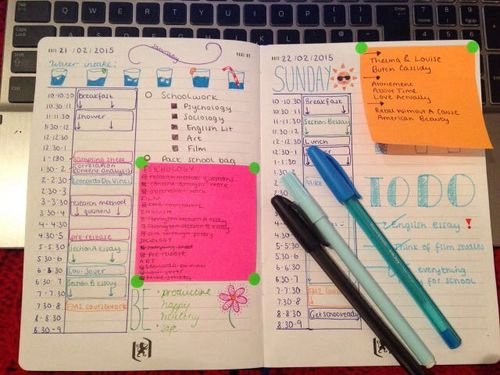 Bullet Journal...One day per page with schedule,  to do list space & post-its