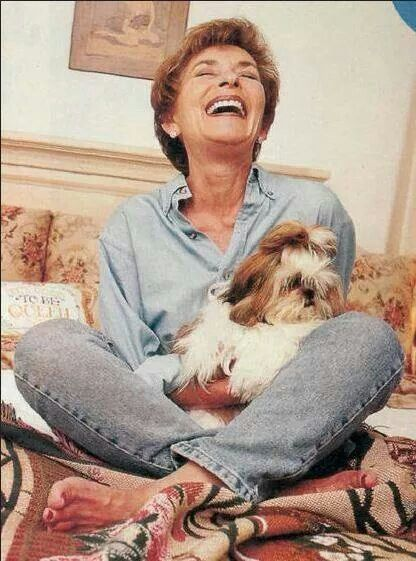 Chuckles   ..Judge Judy with her Shih Tzu...