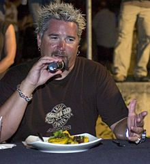 Guy Fieri (/fjɛri/;[1][a] born Guy Ramsay Ferry, January 22, 1968[2]) is an American restaurateur, author, game show host, and television personality. He co-owns three restaurants in California,[12] licenses his name to restaurants in New York City and Las Vegas, Nevada,[13] and is known for his television series on the Food Network.
