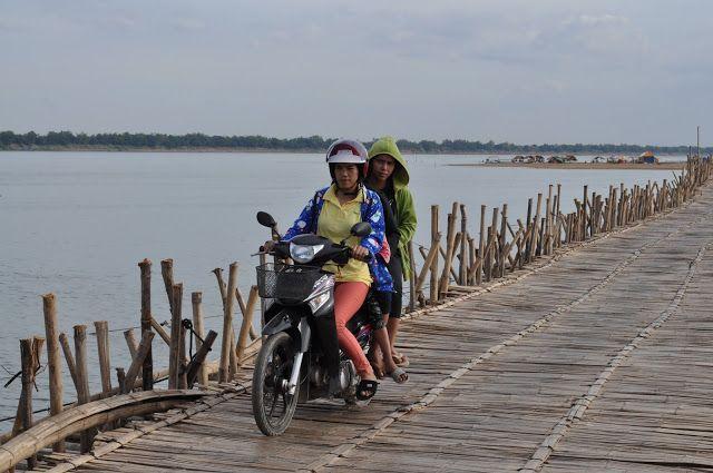 the world is mine: Crossing the bamboo bridge, Kampong Cham, Cambodia...