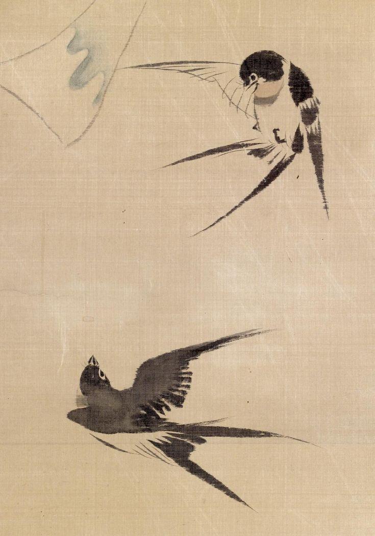 'Two Swallows and Wind Bell', Edo period - Silk painting by Sakai Hōitsu (酒井抱一) (Japan, 1761–1828) - Walters Art Museum, Baltimora