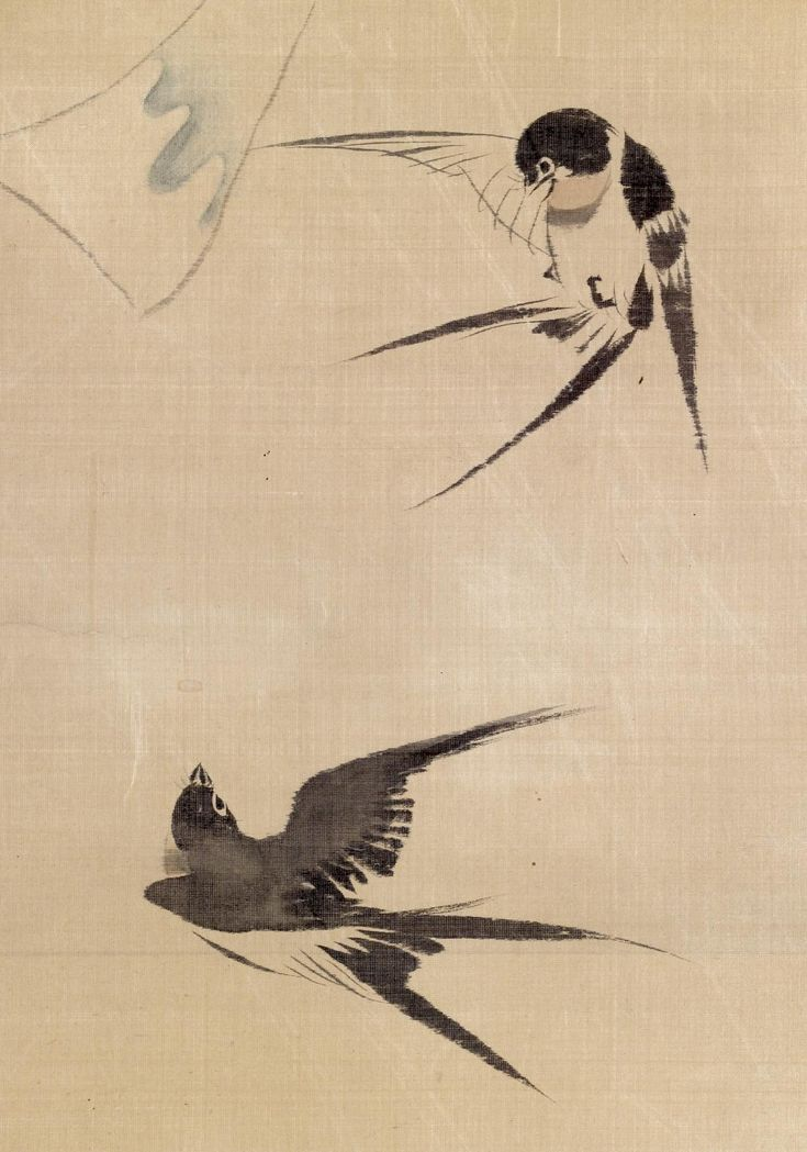 'Two Swallows and Wind Bell', Edo period - Silk painting by Sakai Hōitsu (酒井抱一) (Japan, 1761–1828) - Walters Art Museum, Baltimora