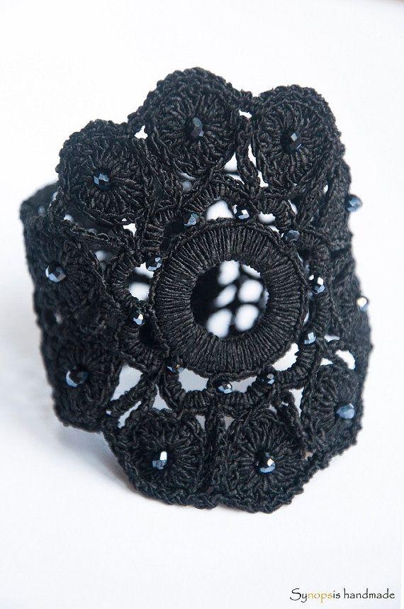 handmade crochet cuff  Nausicaa bracelet cuff von synopsishandmades