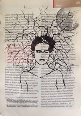 "Saatchi Art Artist Leyla Özlüoğlu; Drawing, ""Dream of Frida Kahlo"" #art #illustration #drawing #oldpaper #picture #sketch #sketchbook #paper #pen #watercolor #book #gallery #musicpaper  #artoftheday #vintage #fridakahlo"