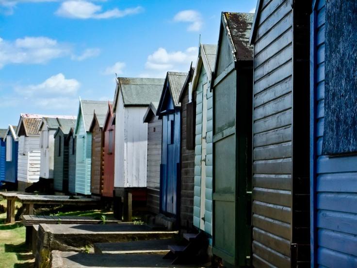 Seaside beach huts at Brightlingsea, Essex.