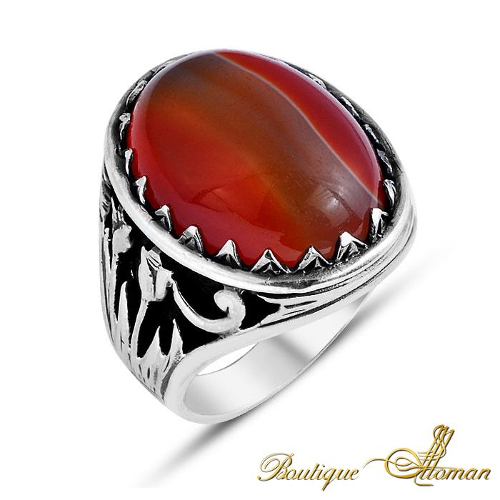 stylish 925 silver rings agate tulip jewelry