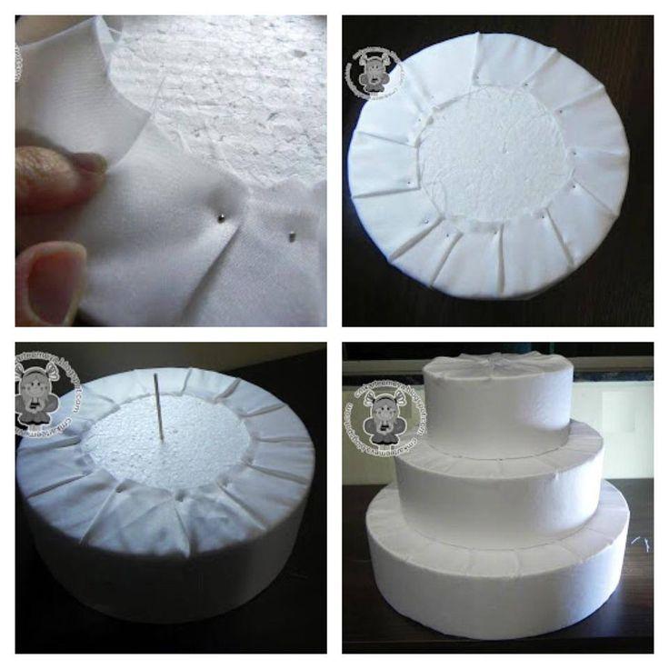 bolo de isopor e tecido