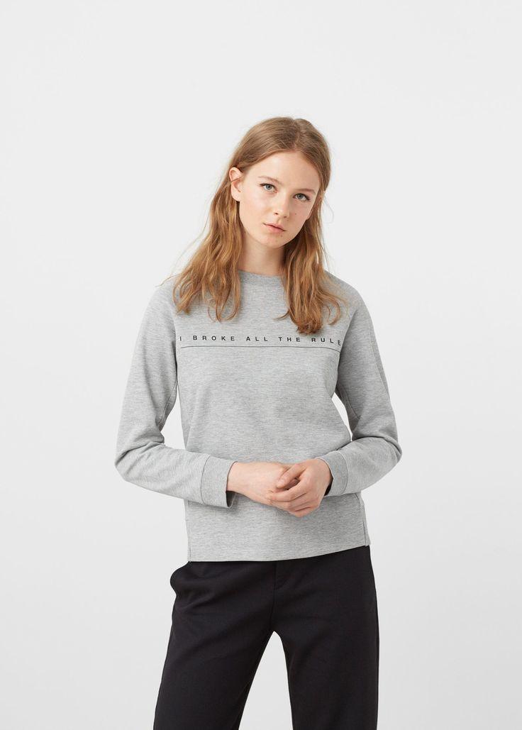 Message cotton sweatshirt -  Woman   MANGO United Kingdom