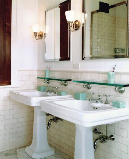 Vintage bath, subway tile, cove molding, pedestal sink, antique bathroom.  http://victoriaelizabethbarnes.com/vintage-bath-cove-molding-pedestal-sink-subway-tile/