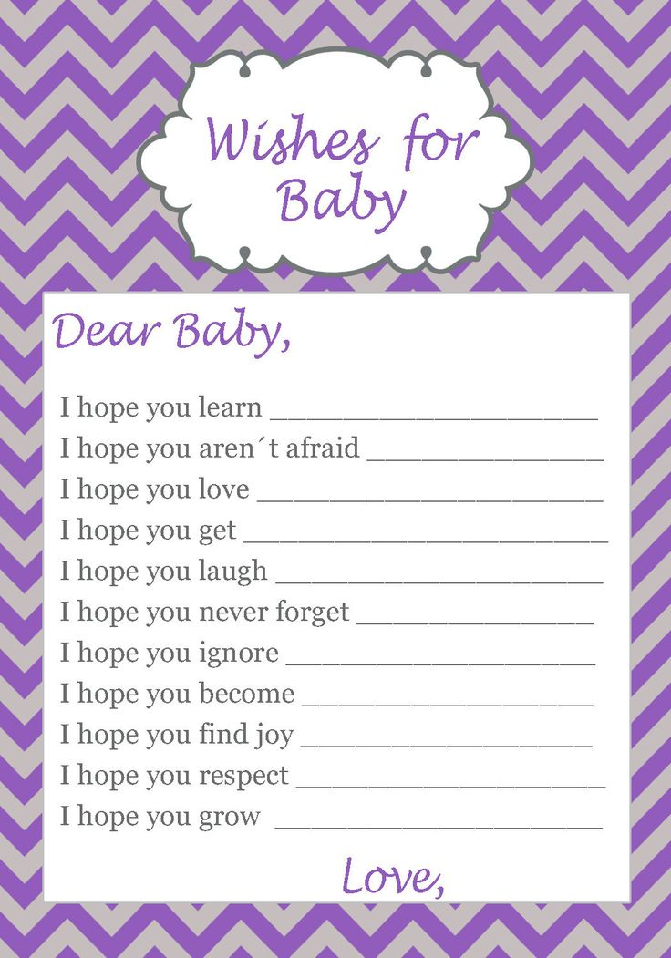 30 Wishes for Baby Card Chevron Purple Grey Baby Shower Game Activity Violet picclick.com