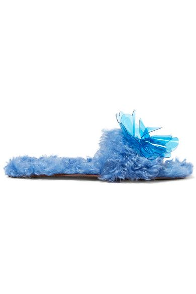 Miu Miu - Embellished Faux Shearling Slides - Blue - IT