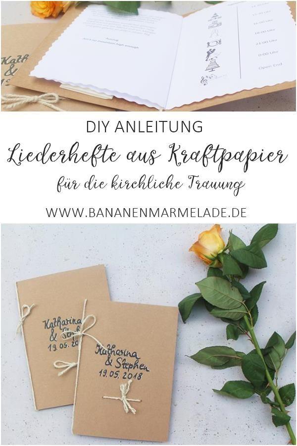 Diy Liederhefte Aus Kraftpapier Fur Die Kirchliche Trauung Bananenmarmelade Kirchliche Trauung Diy Hochzeit Ideen Fur Die Hochzeit