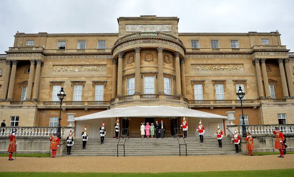 Princess Anne, The Princess Royal, Queen Elizabeth II, Prince Philip, Duke of Edinburgh and Prince Harry attend a special Garden Party for the Regiment at Buckingham Palace on May 28, 2014 in London, Untied Kingdom.