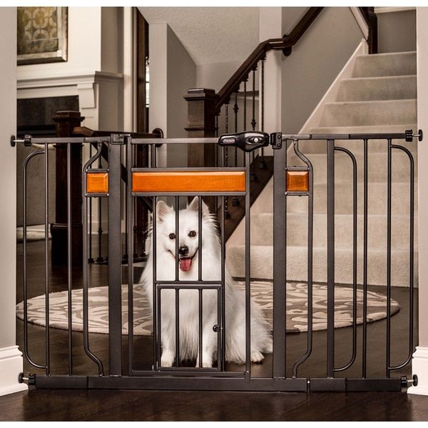 carlson pet products design paw black metal extrawide pet gate
