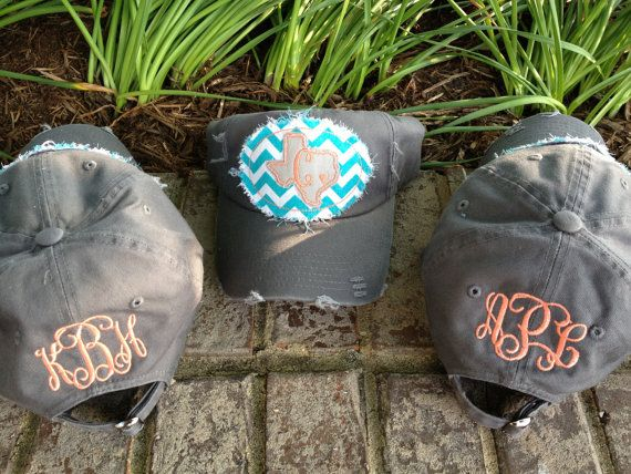 Trendy Distressed Hat w/ Monogram Raggy Patch - Can be customized with any color fabric patch and applique on Etsy, $14.00