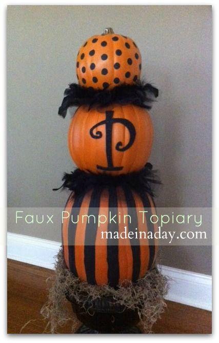 Pumpkin Topiary: Faux Pumpkin, Halloween Decor, Fall Decor, Fall Halloween, Pumpkin Topiaries, Halloween Topiaries, Holidays Decor, Front Porches, Halloween Ideas