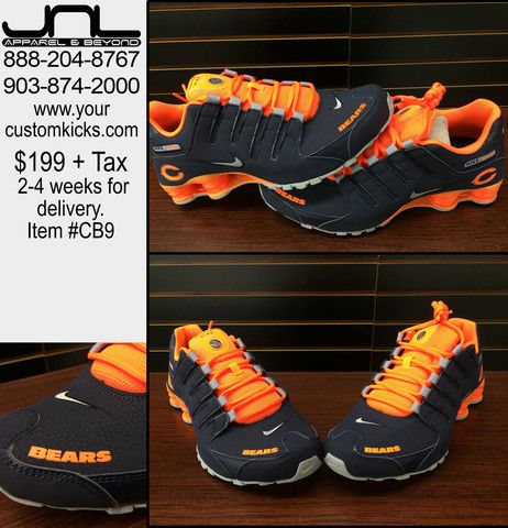 CUSTOM CHICAGO BEARS NIKE SHOX TEAM COLOR SHOES $199+tax  2-4 weeks for delivery Item #CB9
