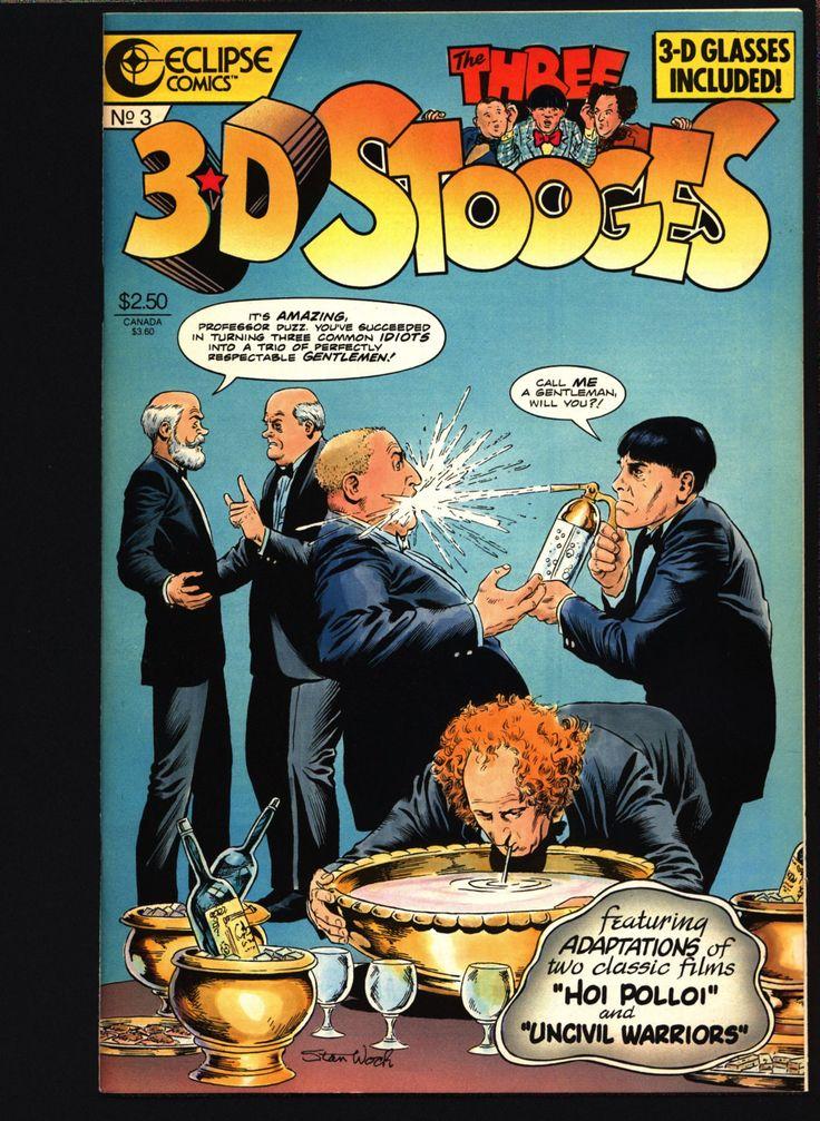 "3-D THREE STOOGES #3 Norman Maurer Slapstick screwball Adaptations of ""Hoi Polloi"" ""Uncivil Warriors"" Moe Howard, Larry Fine, Curly Howard,"