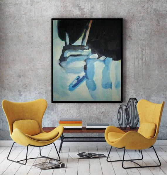 Acrylic Painting Abstract Huge Vivid Figurative Seascape Creative Vertical Wall Art Study room decor Extra large impressionist style Artwork