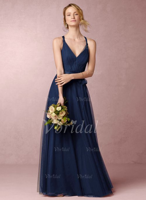 Bridesmaid Dresses - $130.97 - A-Line/Princess V-neck Floor-Length Tulle Bridesmaid Dress With Ruffle (0075099344)