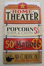 NEW Home Theater Movie Decorative Wall Plaque Popcorn Matinee Cinema Movie Room