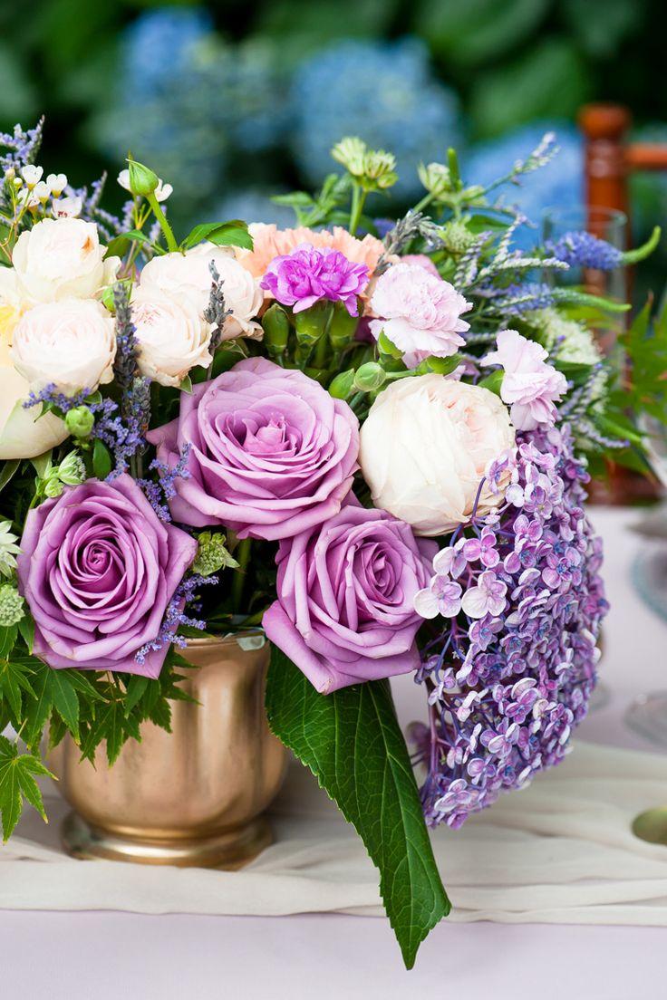 Lavender, lemon and gold wedding centrepiece | Liesl Cheney Photography | See more: http://theweddingplaybook.com/watercolour-garden-wedding-inspiration/