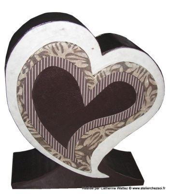 Urne Coeur en carton réalisée par Catherine - Tutoriel gratuit de l'Atelier Chez Soi