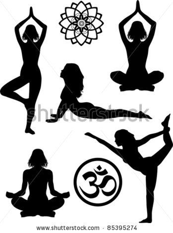 Yoga silhouettes and symbols by Veyronik, via ShutterStock