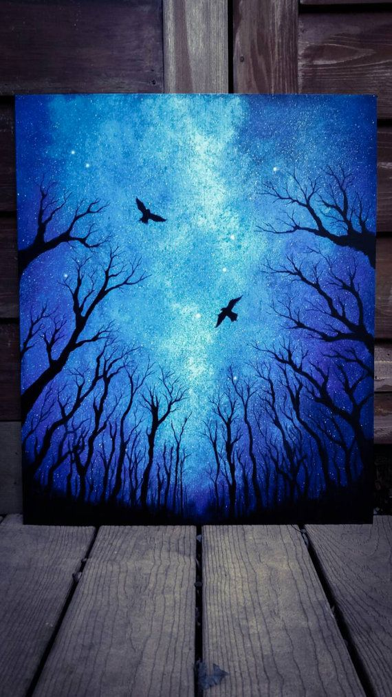 Made to Order: sky painting, acrylic painting, space art, forest art, tree painting, original painting, bird art, silhouette
