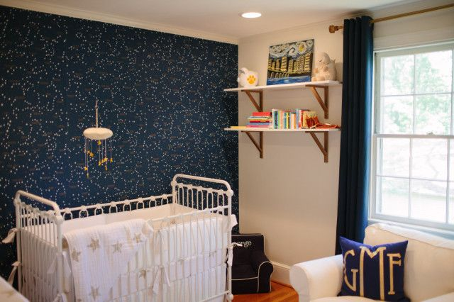 Navy Blue and Gold Constellation Nursery - Project Nursery: Constellations Wallpapers, Gold Constellations, Blue Rooms Gold Stars, Constellations Nurseries, Baby Rooms, Navy Blue, Nurseries Ideas, Baby Nurseries, Kids Rooms