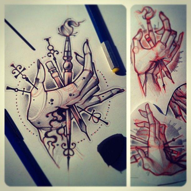 #tattoo #sketch #brush #hand