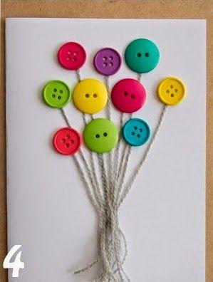 Cómo hacer una tarjeta de cumpleaños con botones