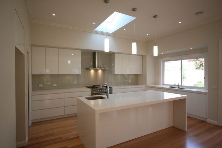 Double-glazed Velux skylight installed centrally above kitchen as part of a major renovation