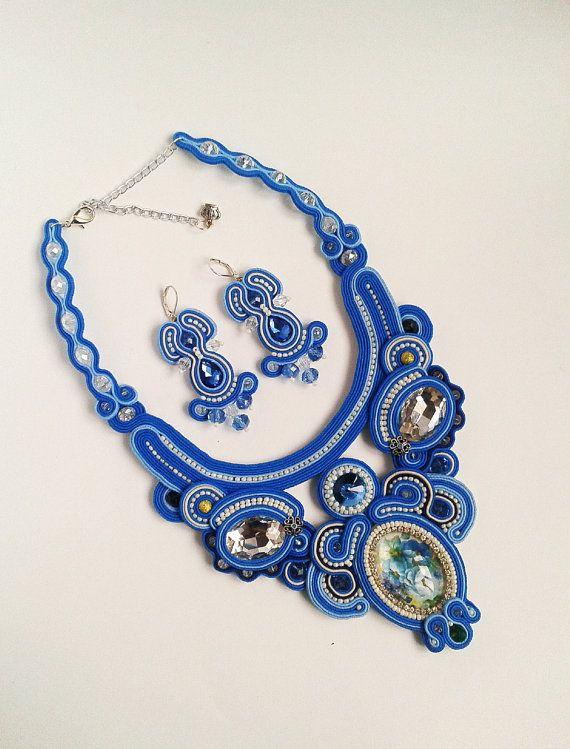Soutache set blue light blue white silver от LENARAOSMANSoutache
