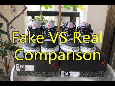 low priced 82d2a f9e74 Real Vs Fake Comparison! 2018 Air Jordan 3 Black Cement ...