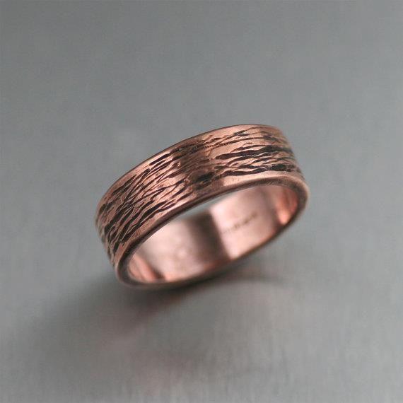 Beautiful 7mm Bark Mens Copper Ring, Copper Wedding Bands, Mens Copper Rings, Bark Copper Ring, Copper Engagement Rings, 7th Wedding Anniversary Gift by johnsbrana https://www.etsy.com/listing/168872531/7mm-bark-mens-copper-ring-copper-wedding?ref=rss