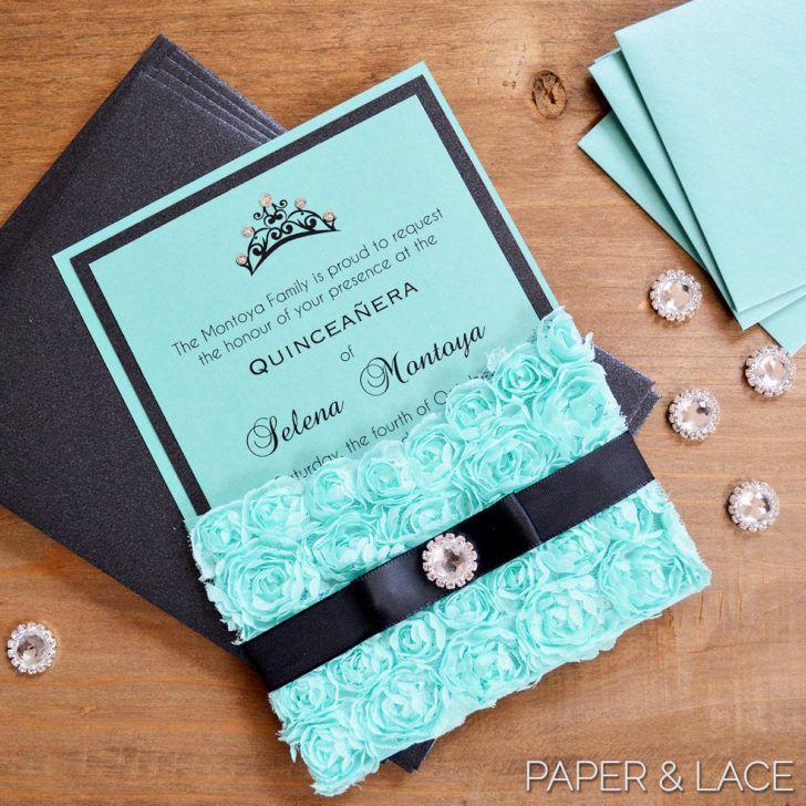 pocket wedding invitation templates%0A Wedding  Turquoise Lace Pocket Wedding Invitation Rosette Quince Invitation  with Crystal Button