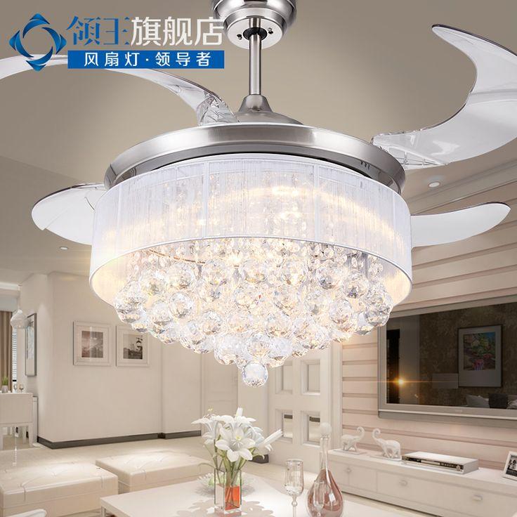 Crystal led ceiling fan light restaurant stealth