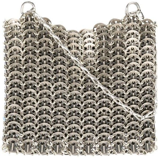 Paco Rabanne Vintage chainmail shoulder bag ($1,434) ❤ liked on Polyvore featuring bags, handbags, shoulder bags, grey, chain strap purse, metallic handbags, grey handbags, shoulder handbags and chain handle handbags