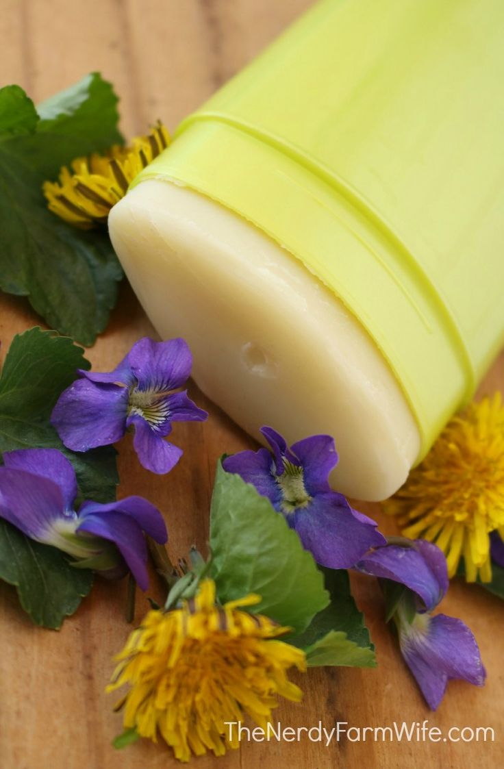 Homemade DIY Herbal Deodorant for Women's Health - contains herbs that are helpful for promoting lymph flow and maintaining healthy breasts such as dandelion flowers, violets, red clover...