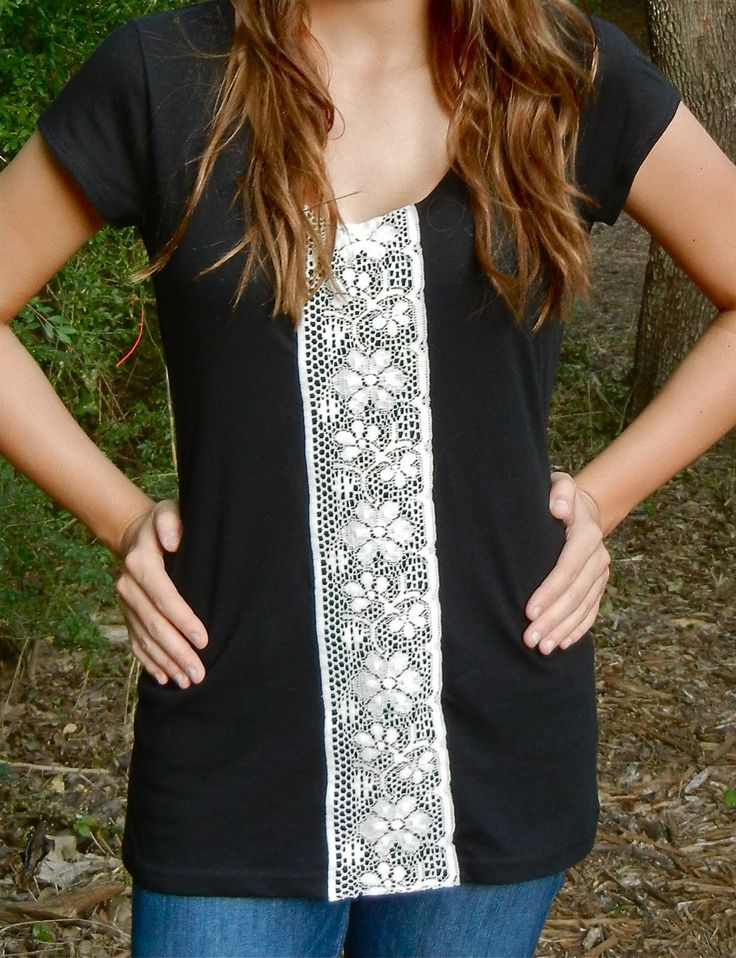 DIY: lace tape t-shirt...So cool looking. You could easily recreate this with some lace and a dark colored T-shirt which can be bought at your favorite obliging thrift store.
