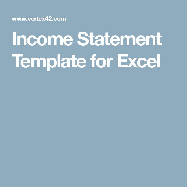 Income Statement Template for Excel