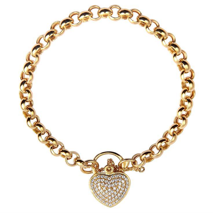 Pulseira oca de ouro elos portugueses coração com zircônia