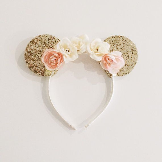Gold Minnie Mouse Ears on Ivory and Peach by EllaReeseDesigns                                                                                                                                                                                 More