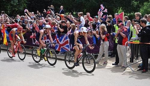 Team GB's Stuart Hayes & Bronze Medal Winner Jonathan Brownlee - London 2012 Olympic Men's Triathlon Final - Hyde Park