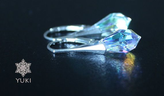 Sterling silver earrings with amazing Swarovski by YUKIJewellery, €25.50