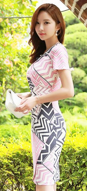 StyleOnme_Zig-Zag Short Sleeve Wrap Dress #pink #grey #elegant #koreanfashion #summer #pretty #wrap #dress