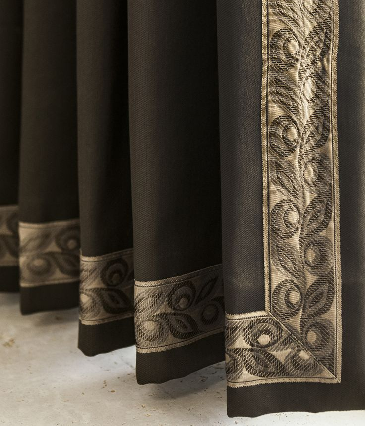 Wide tapes are perfect borders for drapery panels. Serenity Collection by Brimar. #brimar  #trim