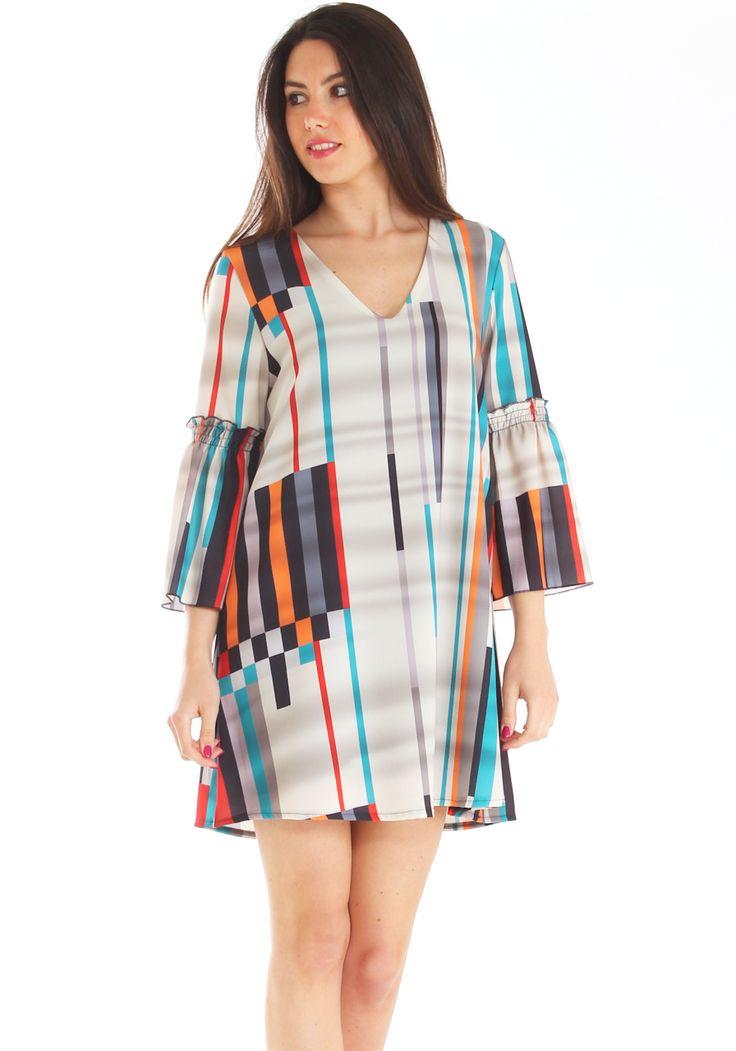 Vestito corto elegante in georgette crepe stretch fantasia http://www.luanaromizi.com/it/vestiti-donna/vestito-corto-elegante-in-georgette-crepe-stretch-fantasia.html