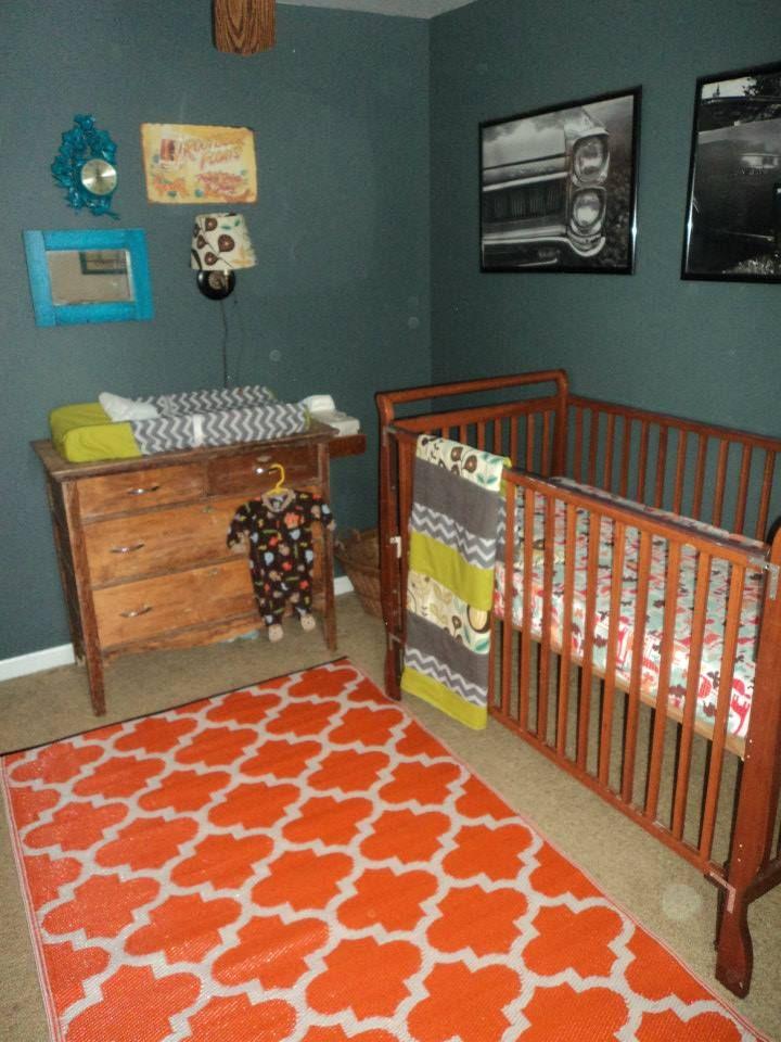 grey, orange, teal and lime green nursery. Vintage dresser ...